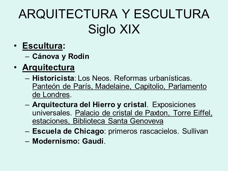 ARQUITECTURA Y ESCULTURA Siglo XIX Escultura: –Cánova y Rodin Arquitectura –Historicista: Los Neos. Reformas urbanísticas. Panteón de París, Madelaine