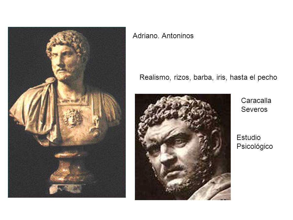 Adriano. Antoninos Realismo, rizos, barba, iris, hasta el pecho Caracalla Severos Estudio Psicológico
