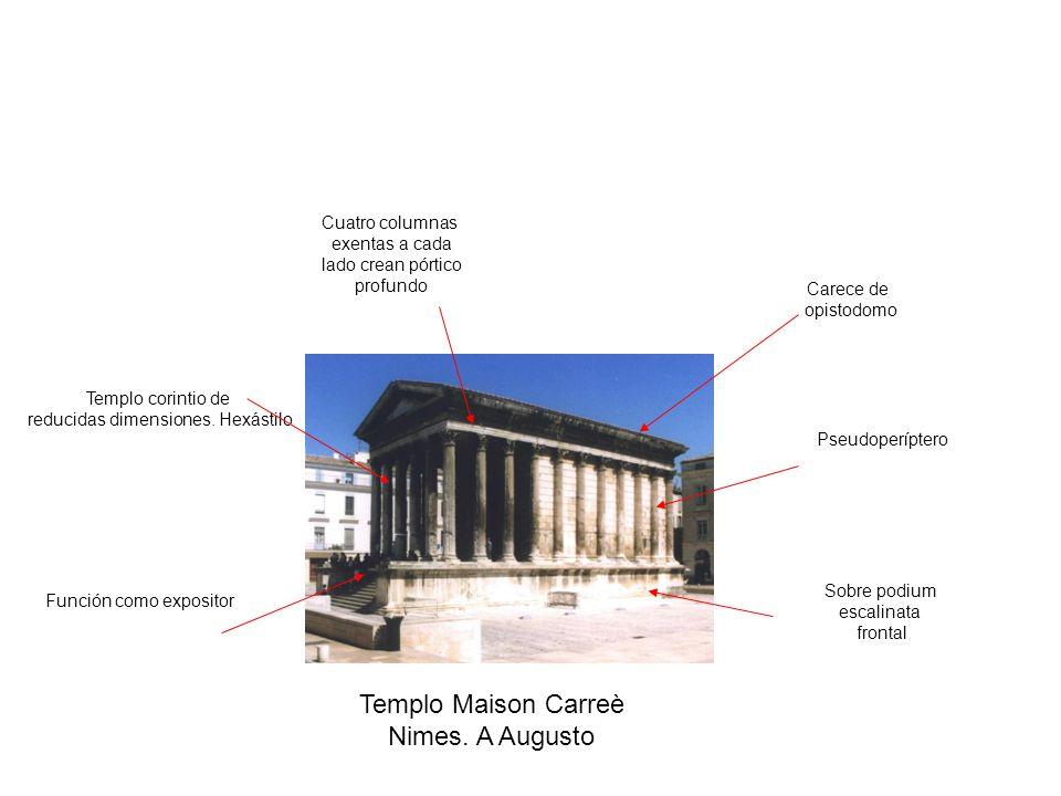 Sobre podium escalinata frontal Pseudoperíptero Templo corintio de reducidas dimensiones. Hexástilo Cuatro columnas exentas a cada lado crean pórtico