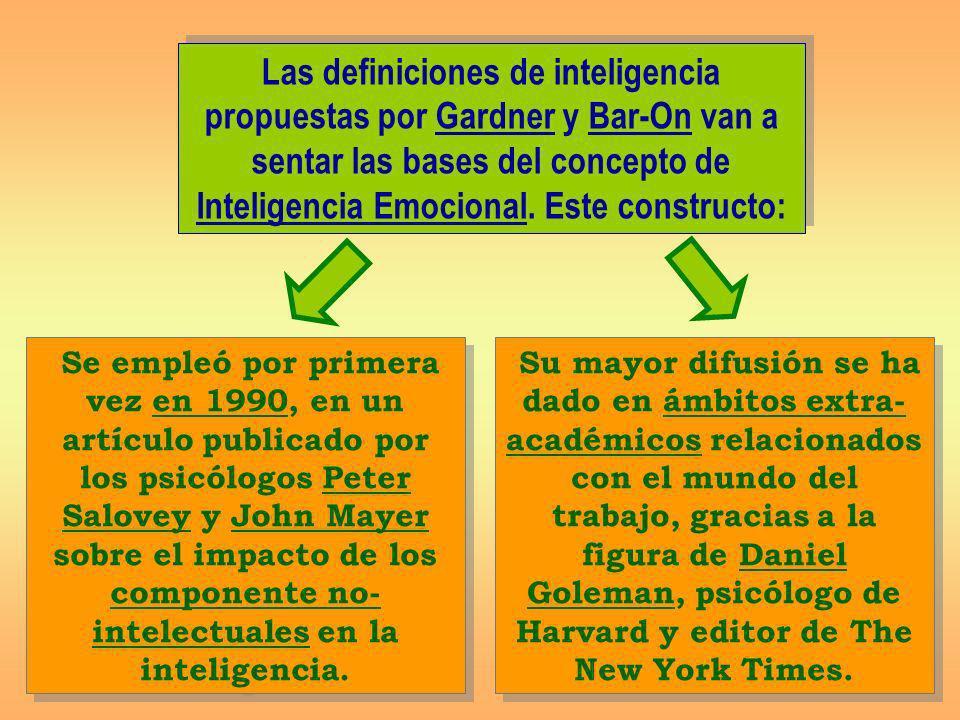 Las definiciones de inteligencia propuestas por Gardner y Bar-On van a sentar las bases del concepto de Inteligencia Emocional. Este constructo: Su ma
