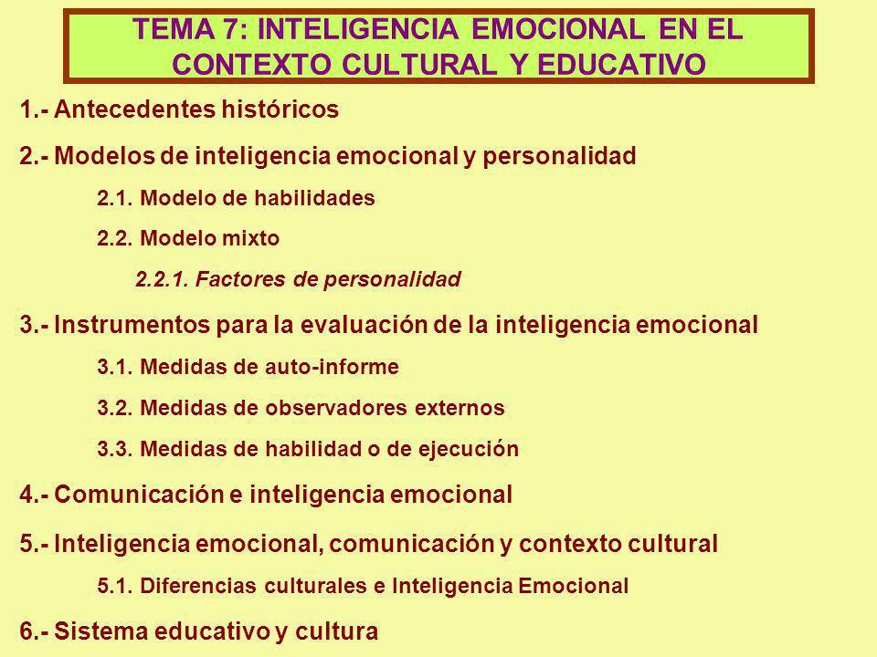 1.- Antecedentes históricos 2.- Modelos de inteligencia emocional y personalidad 2.1. Modelo de habilidades 2.2. Modelo mixto 2.2.1. Factores de perso