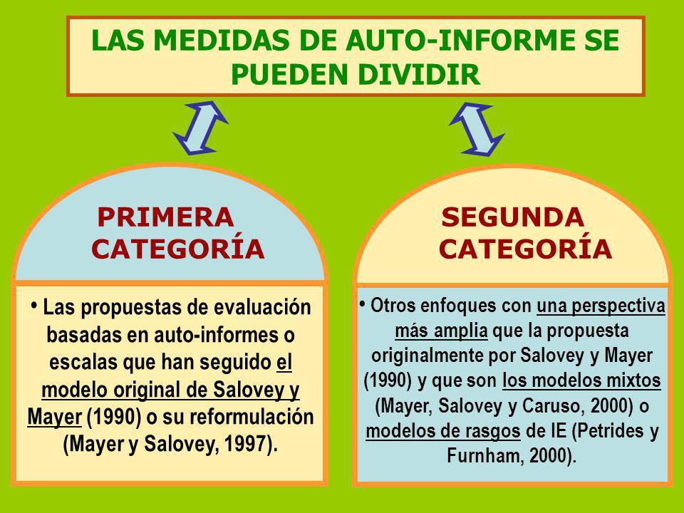 LAS MEDIDAS DE AUTO-INFORME SE PUEDEN DIVIDIR PRIMERA CATEGORÍA SEGUNDA CATEGORÍA Las propuestas de evaluación basadas en auto-informes o escalas que