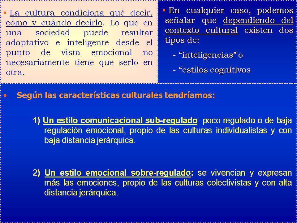 La cultura condiciona qué decir, cómo y cuándo decirlo. Lo que en una sociedad puede resultar adaptativo e inteligente desde el punto de vista emocion