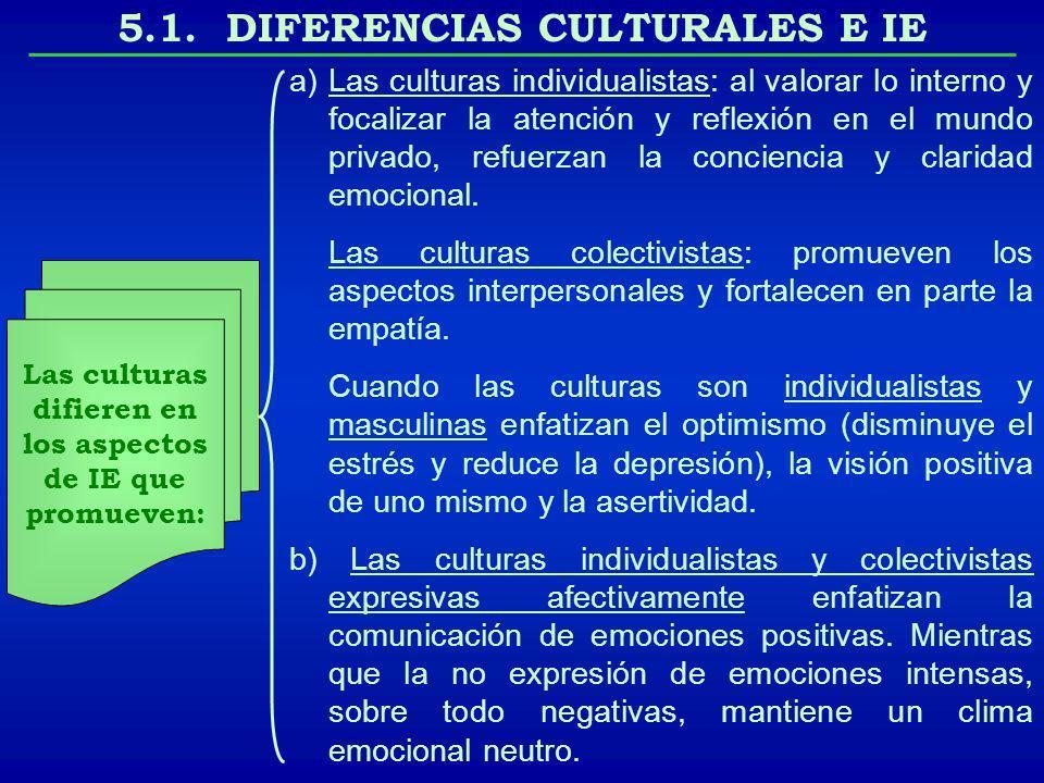 5.1. DIFERENCIAS CULTURALES E IE Las culturas difieren en los aspectos de IE que promueven: a)Las culturas individualistas: al valorar lo interno y fo