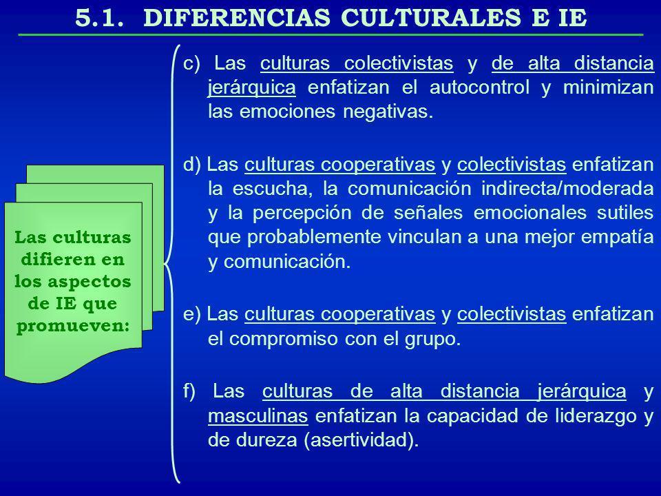 5.1. DIFERENCIAS CULTURALES E IE Las culturas difieren en los aspectos de IE que promueven: c) Las culturas colectivistas y de alta distancia jerárqui