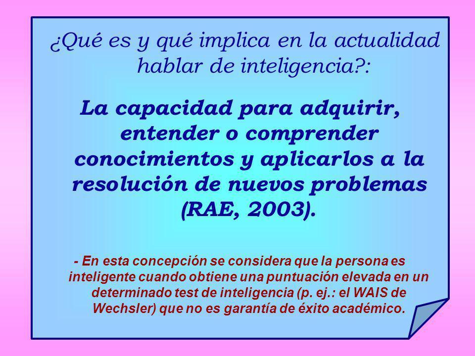 ¿Qué es y qué implica en la actualidad hablar de inteligencia?: La capacidad para adquirir, entender o comprender conocimientos y aplicarlos a la reso