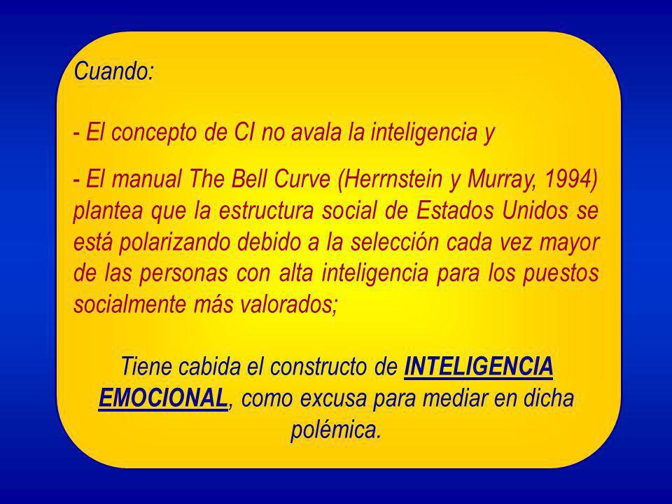 Cuando: - El concepto de CI no avala la inteligencia y - El manual The Bell Curve (Herrnstein y Murray, 1994) plantea que la estructura social de Esta