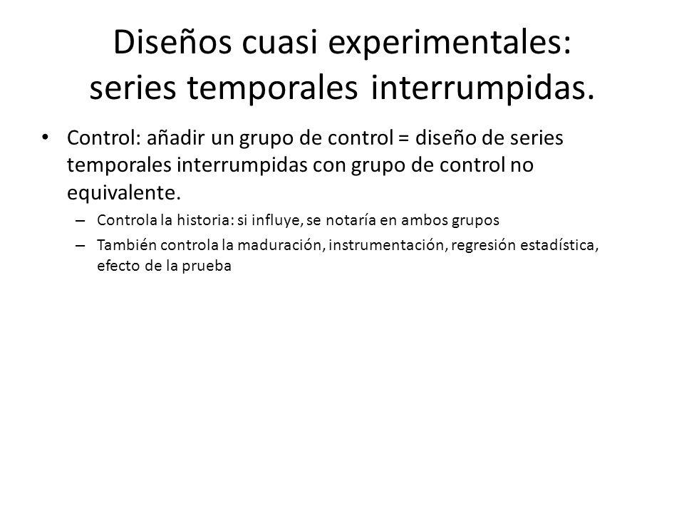 Control: añadir un grupo de control = diseño de series temporales interrumpidas con grupo de control no equivalente. – Controla la historia: si influy