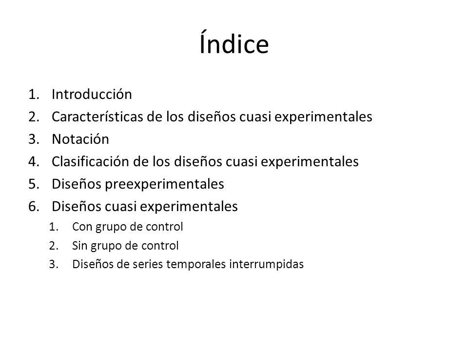 Índice 1.Introducción 2.Características de los diseños cuasi experimentales 3.Notación 4.Clasificación de los diseños cuasi experimentales 5.Diseños p