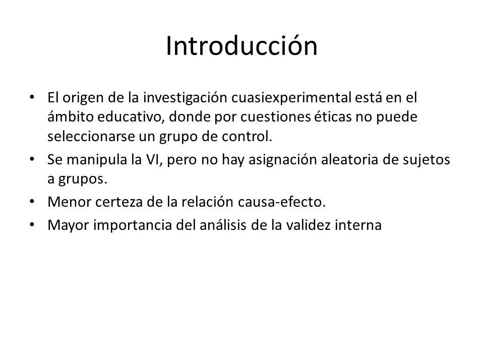 Introducción El origen de la investigación cuasiexperimental está en el ámbito educativo, donde por cuestiones éticas no puede seleccionarse un grupo
