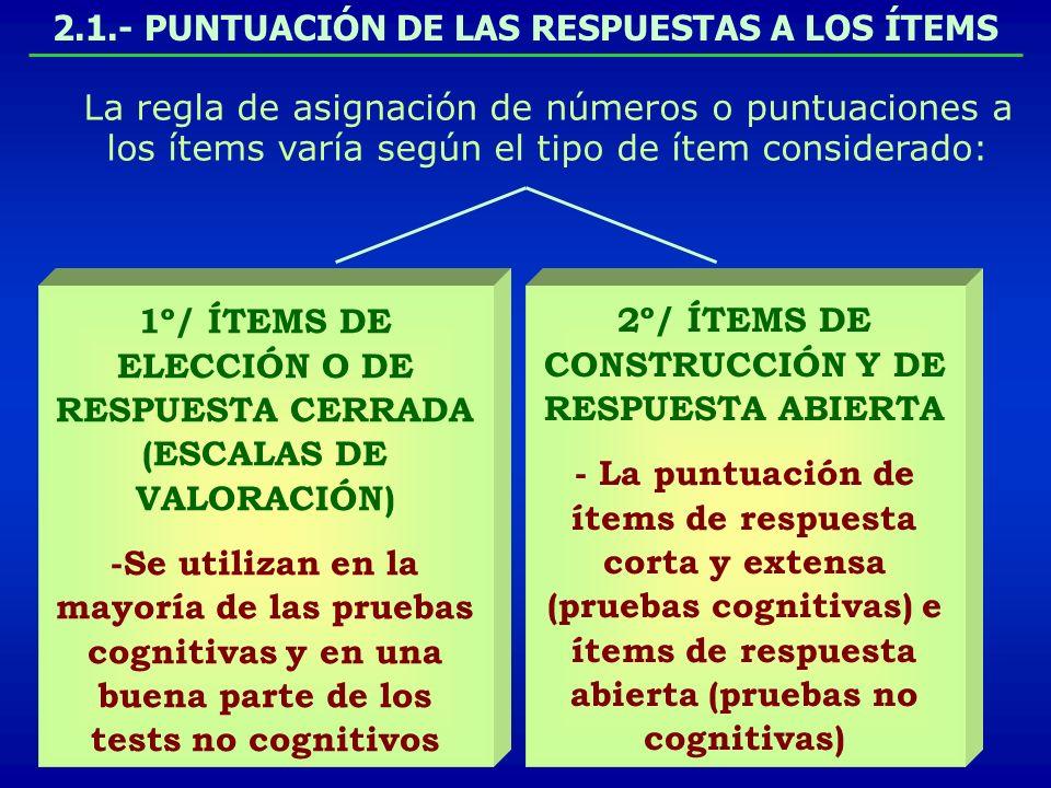 2.1.- PUNTUACIÓN DE LAS RESPUESTAS A LOS ÍTEMS La regla de asignación de números o puntuaciones a los ítems varía según el tipo de ítem considerado: 1