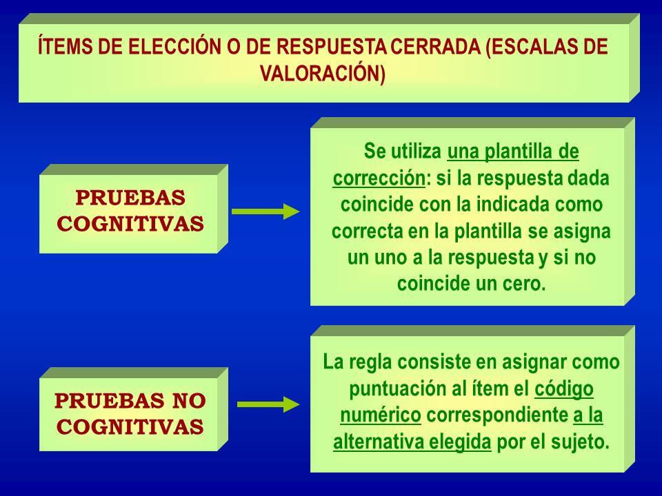 PRUEBAS COGNITIVAS Se utiliza una plantilla de corrección: si la respuesta dada coincide con la indicada como correcta en la plantilla se asigna un un