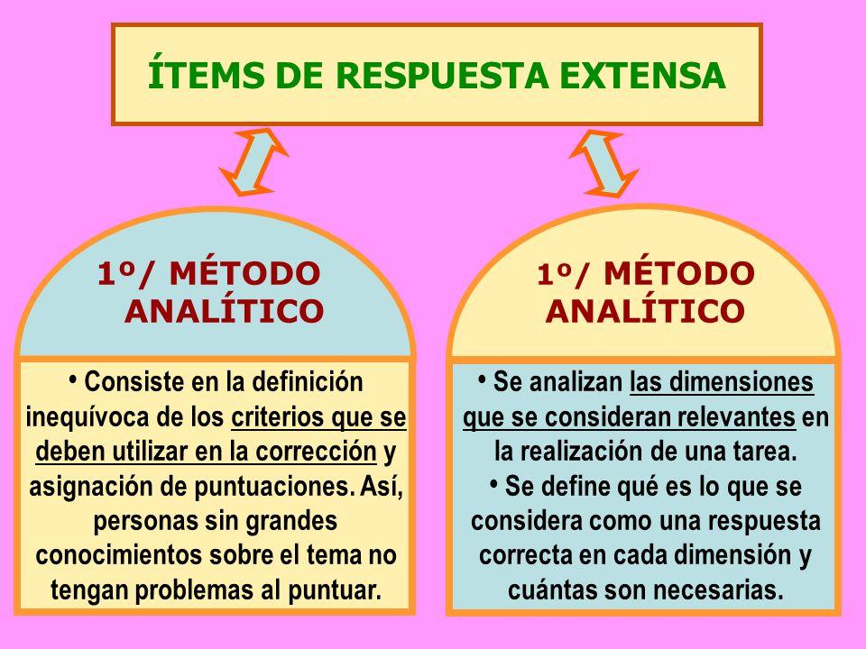 ÍTEMS DE RESPUESTA EXTENSA 1º/ MÉTODO ANALÍTICO 1º/ MÉTODO ANALÍTICO Consiste en la definición inequívoca de los criterios que se deben utilizar en la