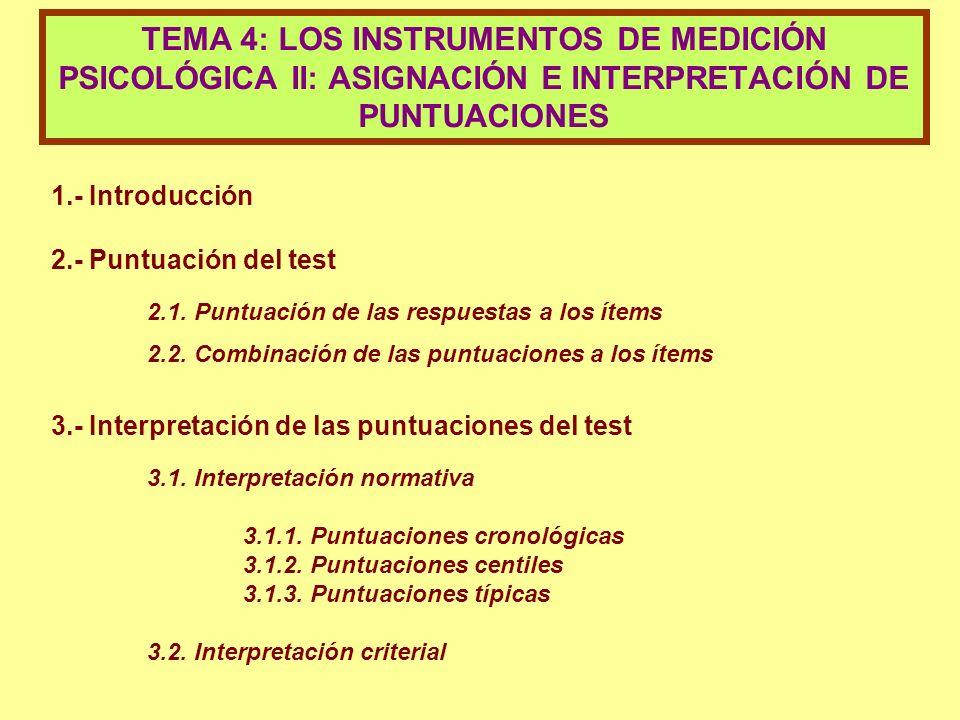 1.- Introducción 2.- Puntuación del test 2.1. Puntuación de las respuestas a los ítems 2.2. Combinación de las puntuaciones a los ítems 3.- Interpreta