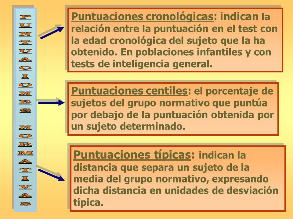 Puntuaciones cronológicas: indican la relación entre la puntuación en el test con la edad cronológica del sujeto que la ha obtenido. En poblaciones in