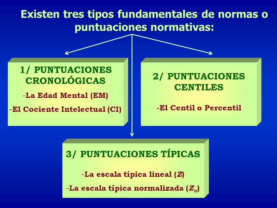 Existen tres tipos fundamentales de normas o puntuaciones normativas: 1/ PUNTUACIONES CRONOLÓGICAS - La Edad Mental (EM) - El Cociente Intelectual (CI