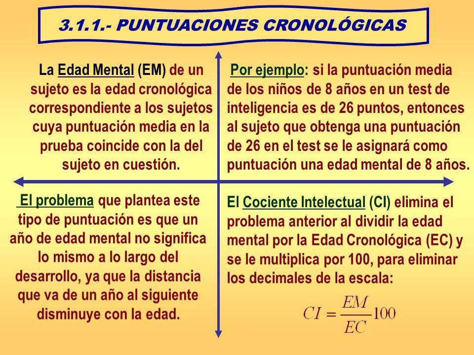 3.1.1.- PUNTUACIONES CRONOLÓGICAS La Edad Mental (EM) de un sujeto es la edad cronológica correspondiente a los sujetos cuya puntuación media en la pr