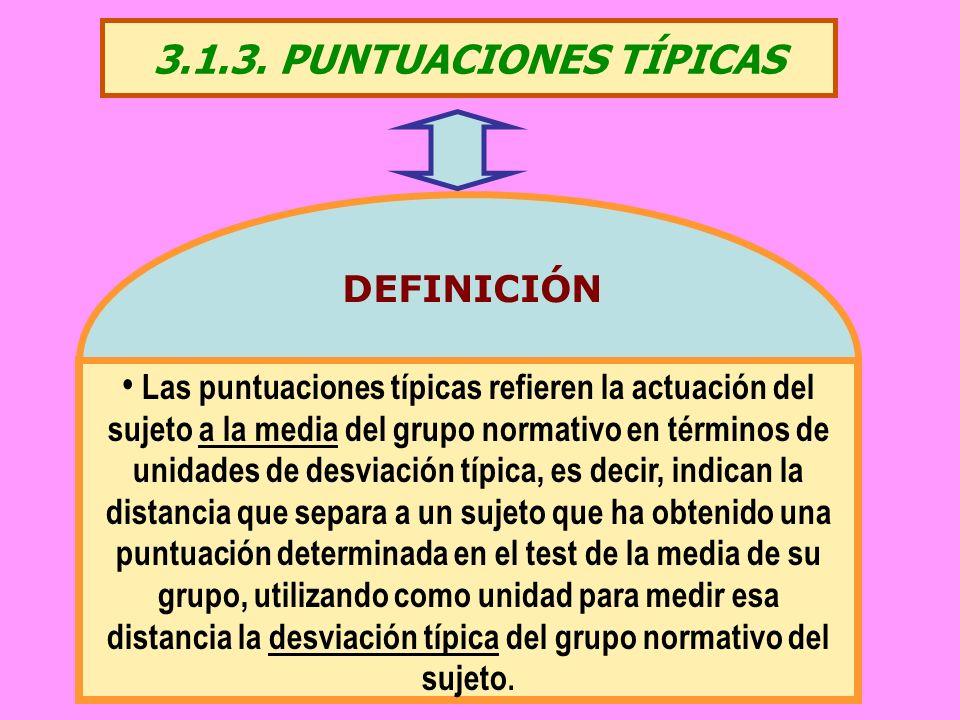 3.1.3. PUNTUACIONES TÍPICAS Las puntuaciones típicas refieren la actuación del sujeto a la media del grupo normativo en términos de unidades de desvia