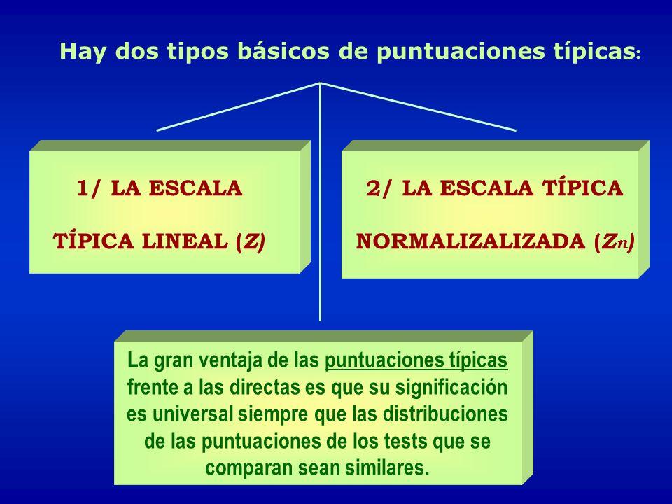 Hay dos tipos básicos de puntuaciones típicas : 1/ LA ESCALA TÍPICA LINEAL ( Z) 2/ LA ESCALA TÍPICA NORMALIZALIZADA ( Z n ) La gran ventaja de las pun