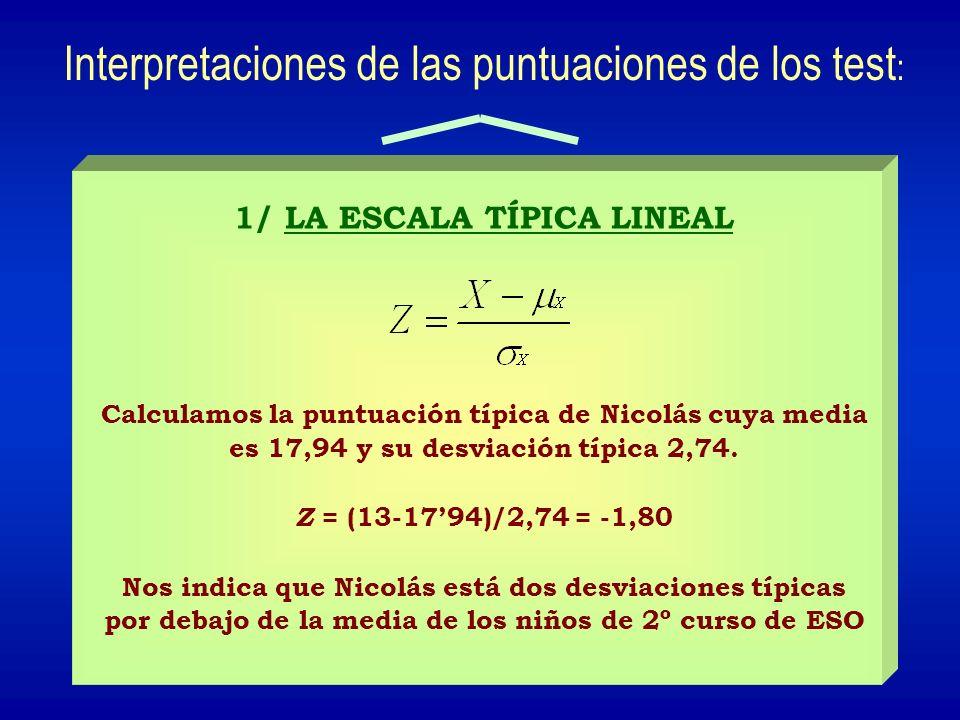 1/ LA ESCALA TÍPICA LINEAL Calculamos la puntuación típica de Nicolás cuya media es 17,94 y su desviación típica 2,74. Z = (13-1794)/2,74 = -1,80 Nos