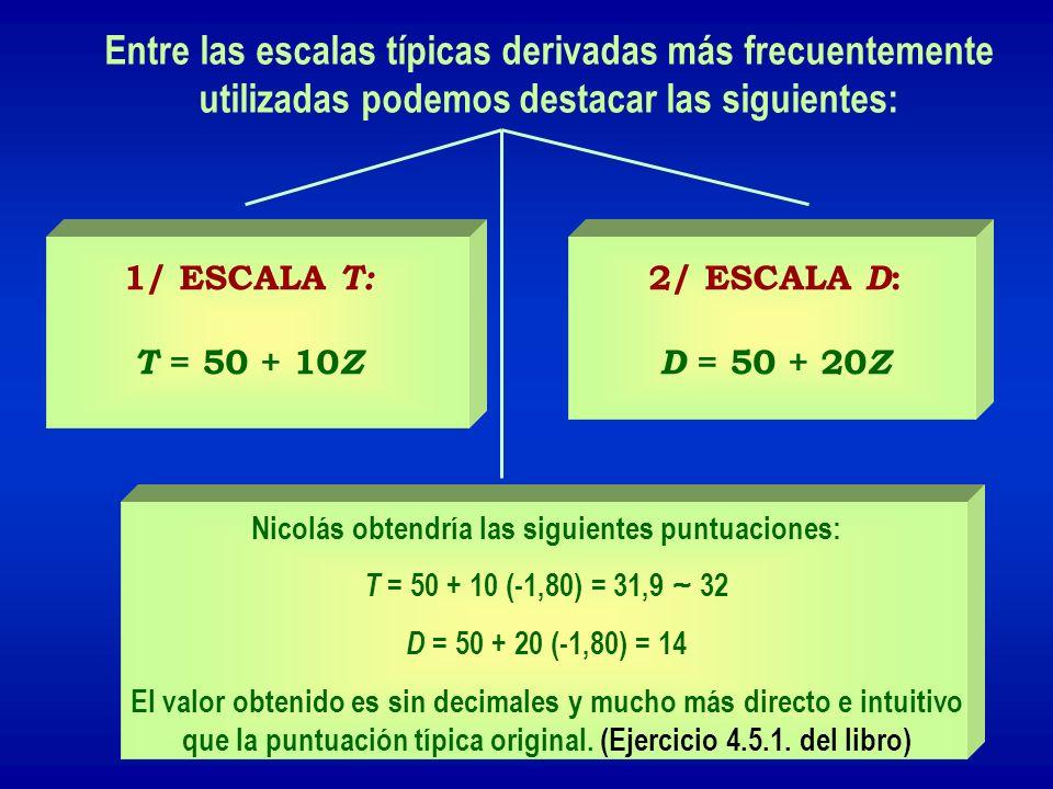 Entre las escalas típicas derivadas más frecuentemente utilizadas podemos destacar las siguientes: 1/ ESCALA T: T = 50 + 10 Z 2/ ESCALA D : D = 50 + 2