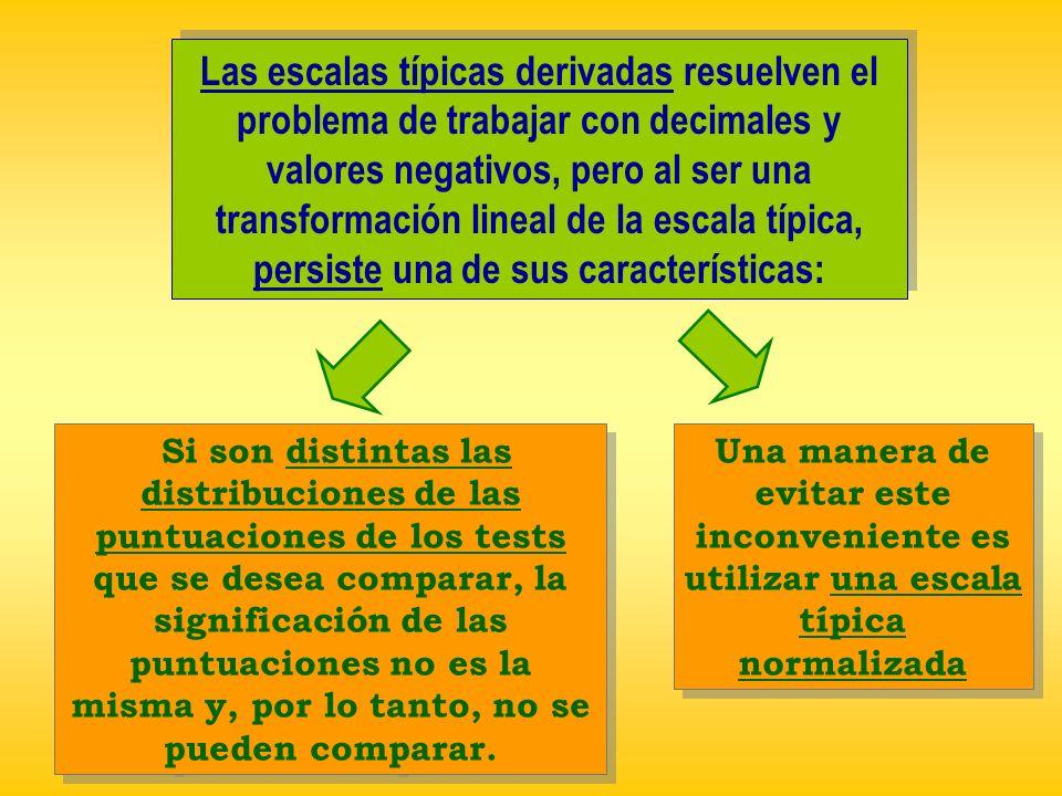 Las escalas típicas derivadas resuelven el problema de trabajar con decimales y valores negativos, pero al ser una transformación lineal de la escala