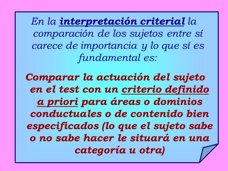 En la interpretación criterial la comparación de los sujetos entre sí carece de importancia y lo que sí es fundamental es: Comparar la actuación del s
