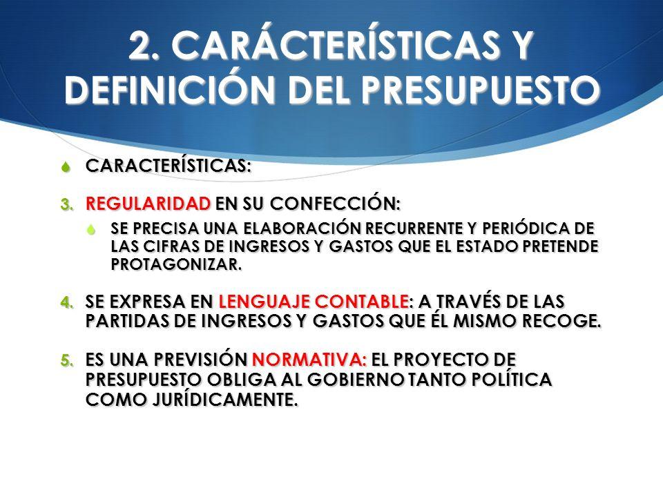 2. CARÁCTERÍSTICAS Y DEFINICIÓN DEL PRESUPUESTO CARACTERÍSTICAS: CARACTERÍSTICAS: 3. REGULARIDAD EN SU CONFECCIÓN: SE PRECISA UNA ELABORACIÓN RECURREN