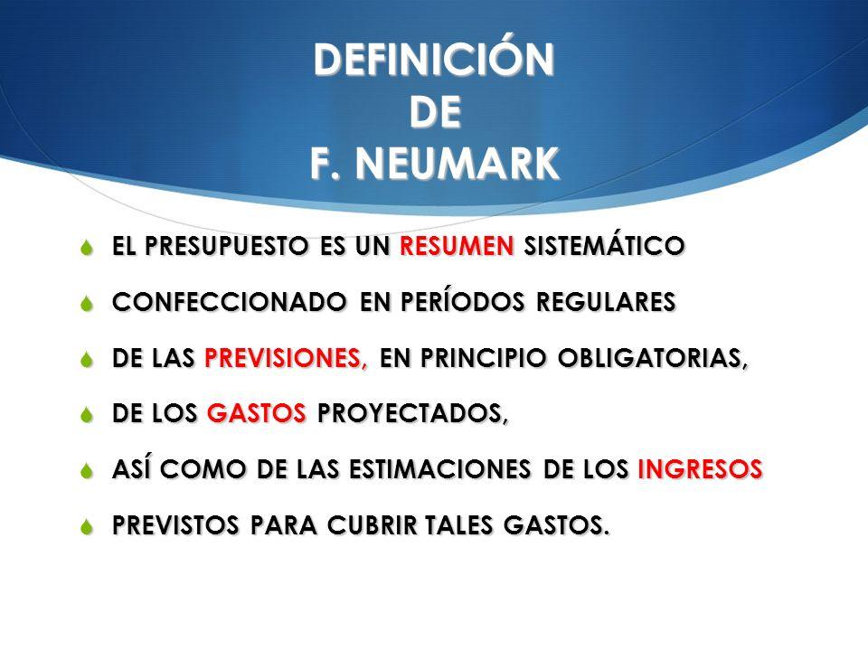DEFINICIÓN DE F. NEUMARK EL PRESUPUESTO ES UN RESUMEN SISTEMÁTICO EL PRESUPUESTO ES UN RESUMEN SISTEMÁTICO CONFECCIONADO EN PERÍODOS REGULARES CONFECC