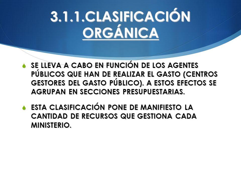 3.1.1.CLASIFICACIÓN ORGÁNICA SE LLEVA A CABO EN FUNCIÓN DE LOS AGENTES PÚBLICOS QUE HAN DE REALIZAR EL GASTO (CENTROS GESTORES DEL GASTO PÚBLICO). A E