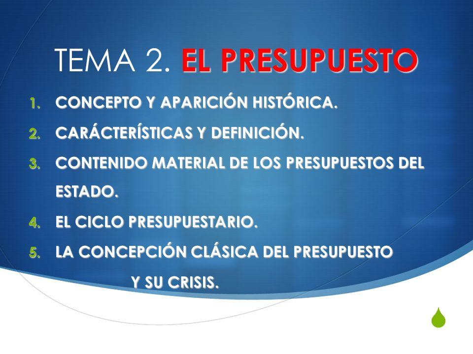 EL PRESUPUESTO TEMA 2. EL PRESUPUESTO 1. CONCEPTO Y APARICIÓN HISTÓRICA. 2. CARÁCTERÍSTICAS Y DEFINICIÓN. 3. CONTENIDO MATERIAL DE LOS PRESUPUESTOS DE