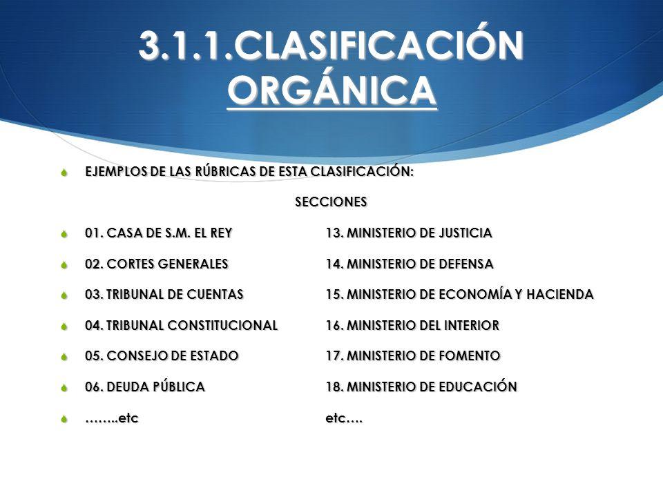 3.1.1.CLASIFICACIÓN ORGÁNICA EJEMPLOS DE LAS RÚBRICAS DE ESTA CLASIFICACIÓN: EJEMPLOS DE LAS RÚBRICAS DE ESTA CLASIFICACIÓN:SECCIONES 01. CASA DE S.M.