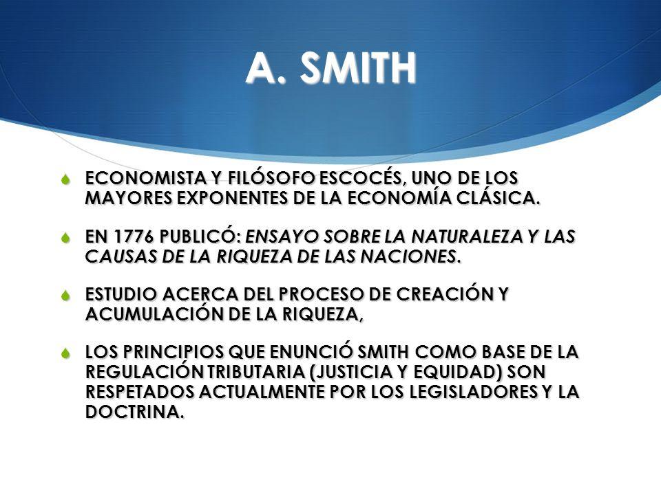 A. SMITH ECONOMISTA Y FILÓSOFO ESCOCÉS, UNO DE LOS MAYORES EXPONENTES DE LA ECONOMÍA CLÁSICA. ECONOMISTA Y FILÓSOFO ESCOCÉS, UNO DE LOS MAYORES EXPONE