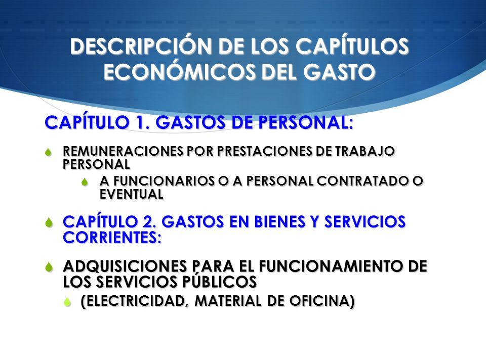 DESCRIPCIÓN DE LOS CAPÍTULOS ECONÓMICOS DEL GASTO CAPÍTULO 1. GASTOS DE PERSONAL: REMUNERACIONES POR PRESTACIONES DE TRABAJO PERSONAL REMUNERACIONES P