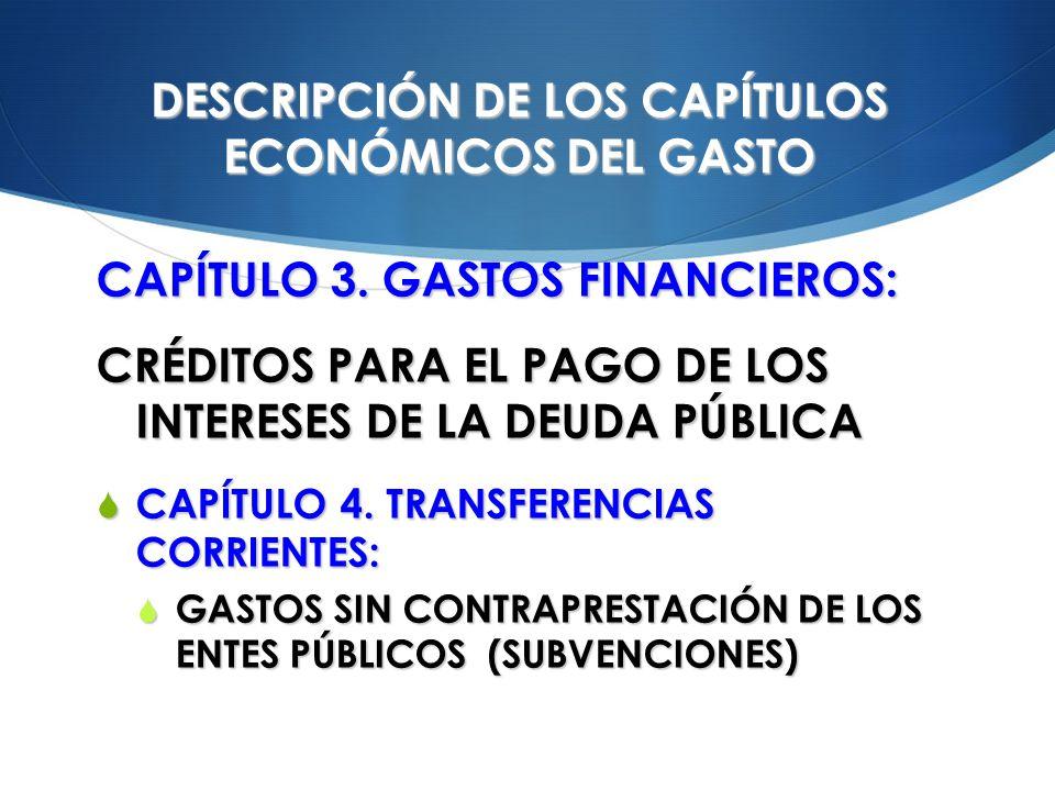 DESCRIPCIÓN DE LOS CAPÍTULOS ECONÓMICOS DEL GASTO CAPÍTULO 3. GASTOS FINANCIEROS: CRÉDITOS PARA EL PAGO DE LOS INTERESES DE LA DEUDA PÚBLICA CAPÍTULO