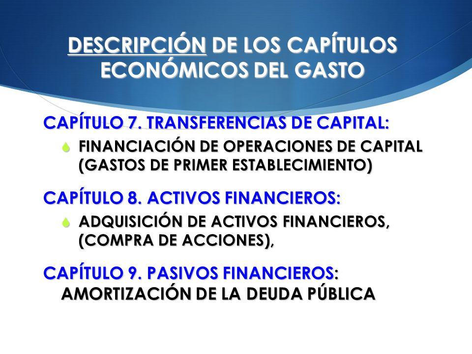 DESCRIPCIÓN DE LOS CAPÍTULOS ECONÓMICOS DEL GASTO CAPÍTULO 7. TRANSFERENCIAS DE CAPITAL: FINANCIACIÓN DE OPERACIONES DE CAPITAL (GASTOS DE PRIMER ESTA