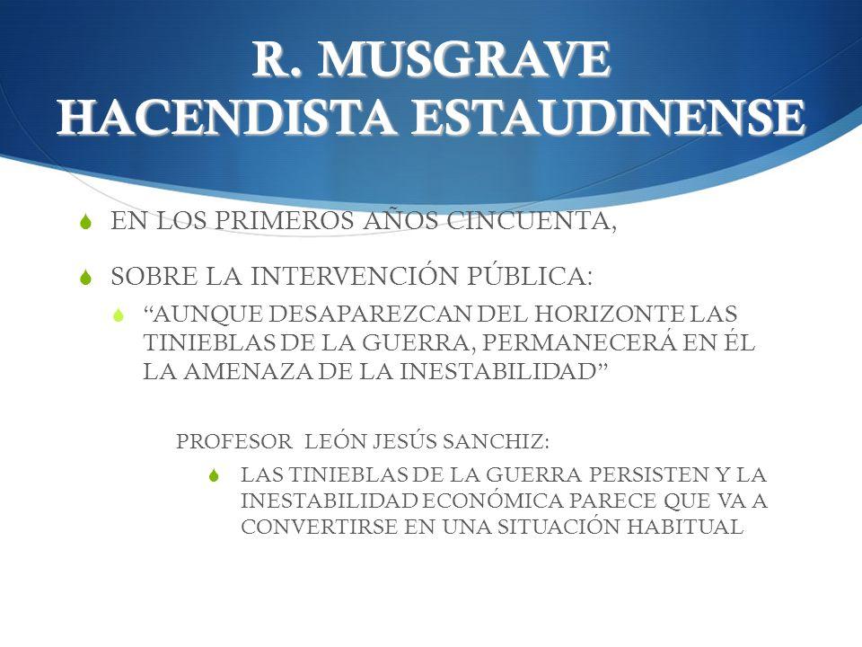 R. MUSGRAVE HACENDISTA ESTAUDINENSE EN LOS PRIMEROS AÑOS CINCUENTA, SOBRE LA INTERVENCIÓN PÚBLICA: AUNQUE DESAPAREZCAN DEL HORIZONTE LAS TINIEBLAS DE