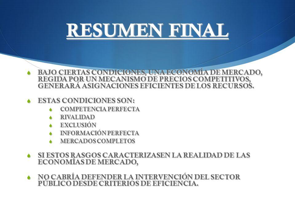 RESUMEN FINAL BAJO CIERTAS CONDICIONES, UNA ECONOMÍA DE MERCADO, REGIDA POR UN MECANISMO DE PRECIOS COMPETITIVOS, GENERARÁ ASIGNACIONES EFICIENTES DE