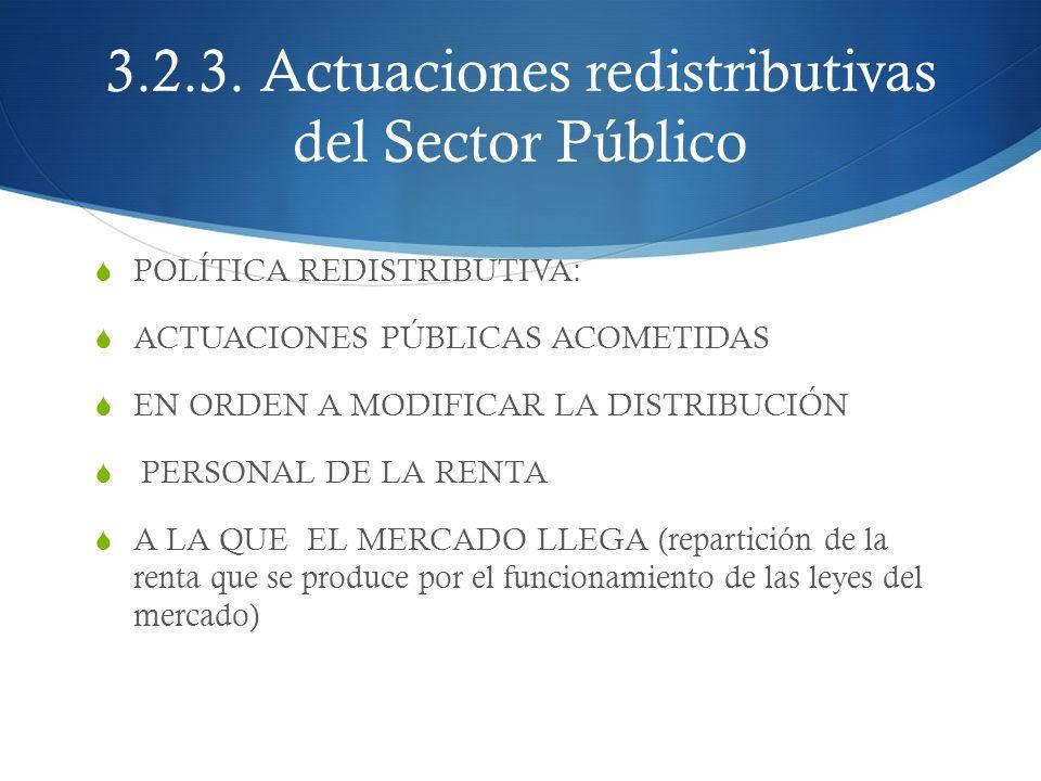 3.2.3. Actuaciones redistributivas del Sector Público POLÍTICA REDISTRIBUTIVA: ACTUACIONES PÚBLICAS ACOMETIDAS EN ORDEN A MODIFICAR LA DISTRIBUCIÓN PE