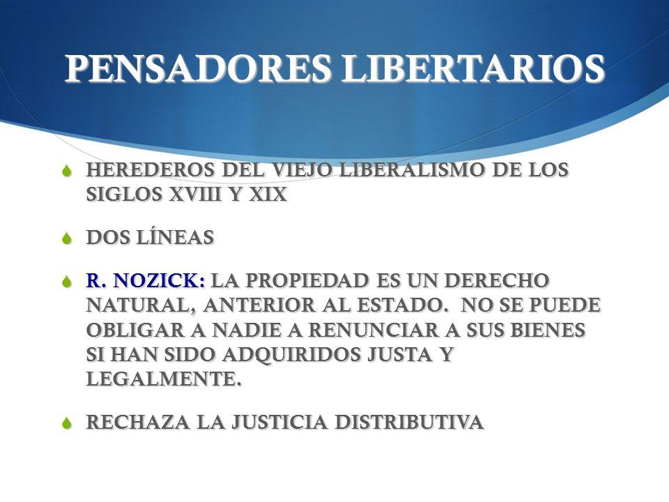 PENSADORES LIBERTARIOS HEREDEROS DEL VIEJO LIBERALISMO DE LOS SIGLOS XVIII Y XIX HEREDEROS DEL VIEJO LIBERALISMO DE LOS SIGLOS XVIII Y XIX DOS LÍNEAS