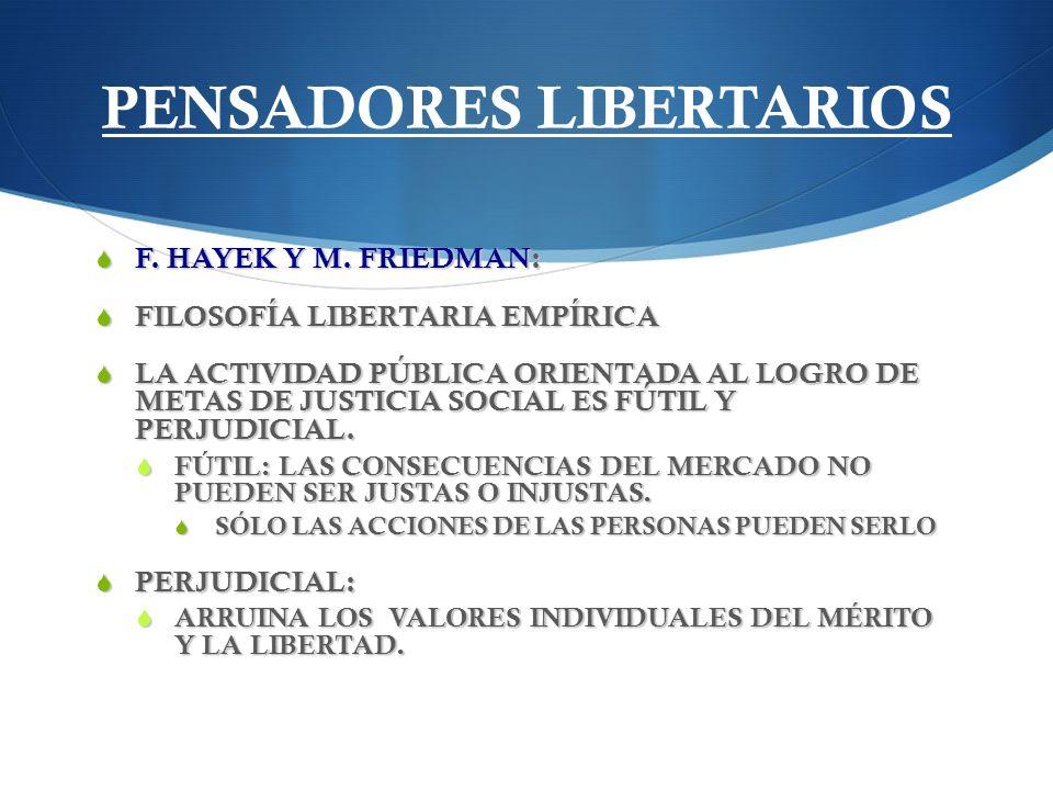 PENSADORES LIBERTARIOS F. HAYEK Y M. FRIEDMAN: F. HAYEK Y M. FRIEDMAN: FILOSOFÍA LIBERTARIA EMPÍRICA FILOSOFÍA LIBERTARIA EMPÍRICA LA ACTIVIDAD PÚBLIC