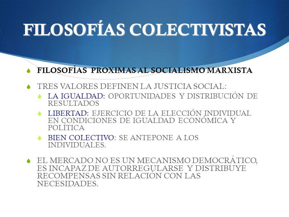 FILOSOFÍAS COLECTIVISTAS FILOSOFÍAS PROXIMAS AL SOCIALISMO MARXISTA TRES VALORES DEFINEN LA JUSTICIA SOCIAL: LA IGUALDAD: OPORTUNIDADES Y DISTRIBUCIÓN
