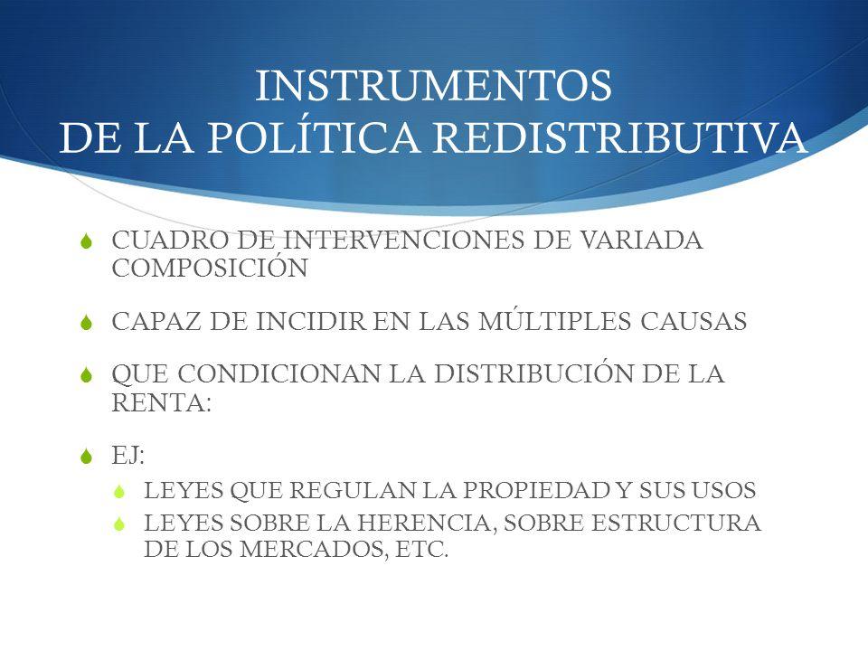 INSTRUMENTOS DE LA POLÍTICA REDISTRIBUTIVA CUADRO DE INTERVENCIONES DE VARIADA COMPOSICIÓN CAPAZ DE INCIDIR EN LAS MÚLTIPLES CAUSAS QUE CONDICIONAN LA