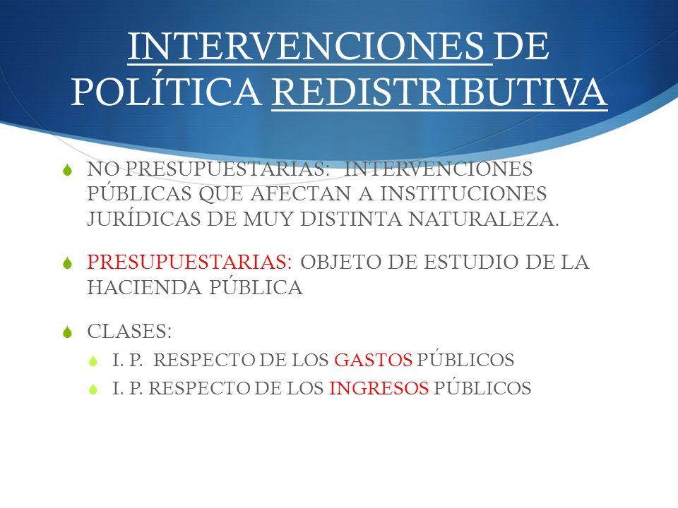 INTERVENCIONES DE POLÍTICA REDISTRIBUTIVA NO PRESUPUESTARIAS: INTERVENCIONES PÚBLICAS QUE AFECTAN A INSTITUCIONES JURÍDICAS DE MUY DISTINTA NATURALEZA