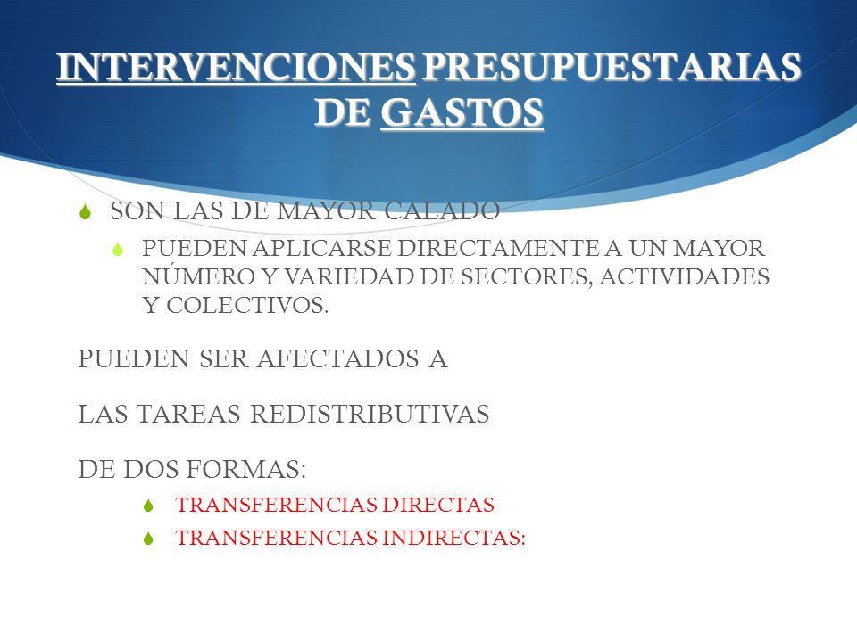 INTERVENCIONES PRESUPUESTARIAS DE GASTOS SON LAS DE MAYOR CALADO PUEDEN APLICARSE DIRECTAMENTE A UN MAYOR NÚMERO Y VARIEDAD DE SECTORES, ACTIVIDADES Y