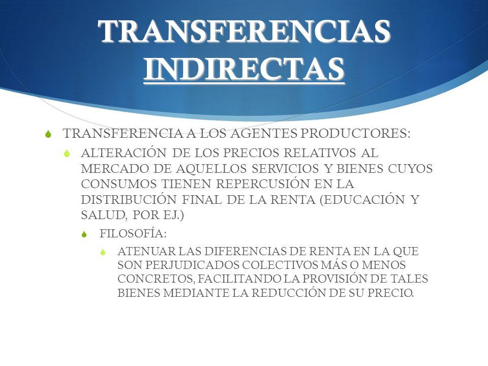 TRANSFERENCIAS INDIRECTAS TRANSFERENCIA A LOS AGENTES PRODUCTORES: ALTERACIÓN DE LOS PRECIOS RELATIVOS AL MERCADO DE AQUELLOS SERVICIOS Y BIENES CUYOS
