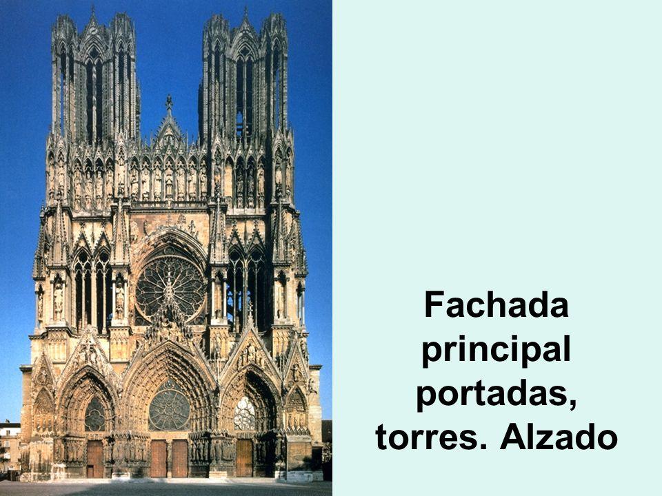 Fachada principal portadas, torres. Alzado