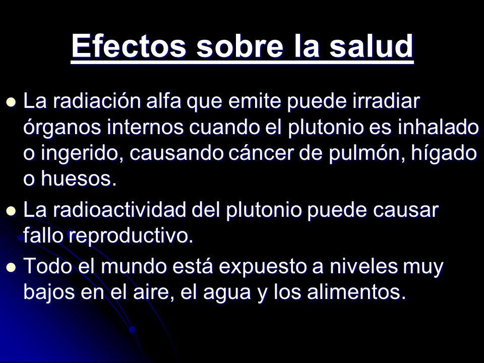 Efectos sobre la salud La radiación alfa que emite puede irradiar órganos internos cuando el plutonio es inhalado o ingerido, causando cáncer de pulmó