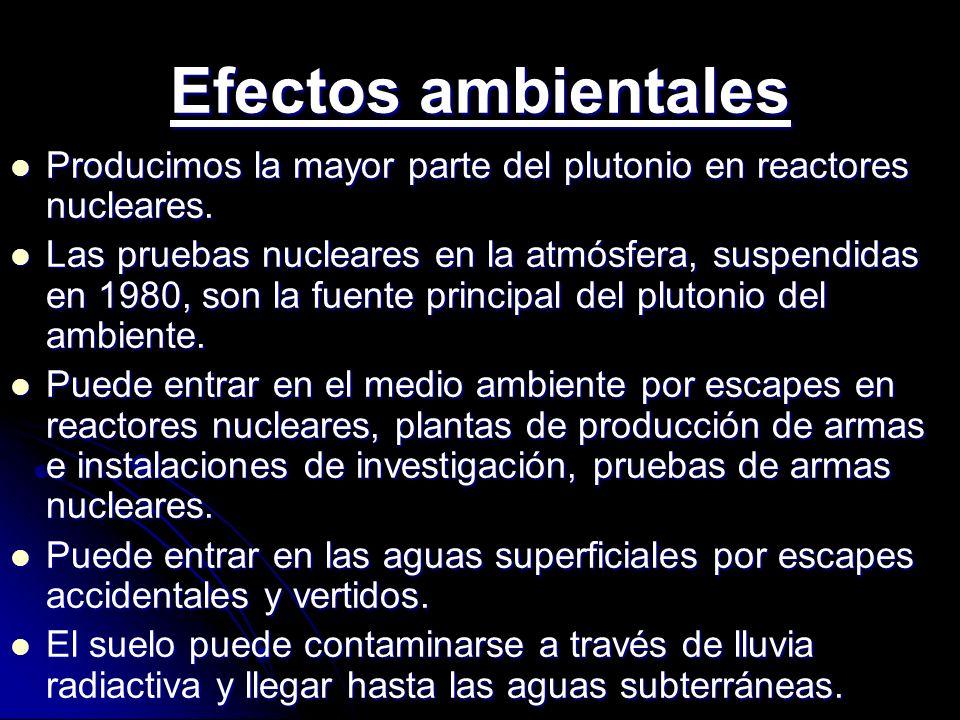 Efectos ambientales Producimos la mayor parte del plutonio en reactores nucleares. Producimos la mayor parte del plutonio en reactores nucleares. Las