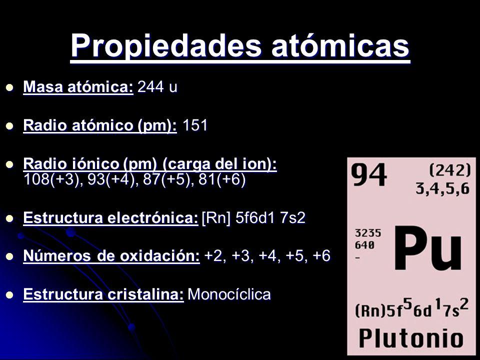 Propiedades atómicas Masa atómica: 244 u Masa atómica: 244 u Radio atómico (pm): 151 Radio atómico (pm): 151 Radio iónico (pm) (carga del ion): 108(+3